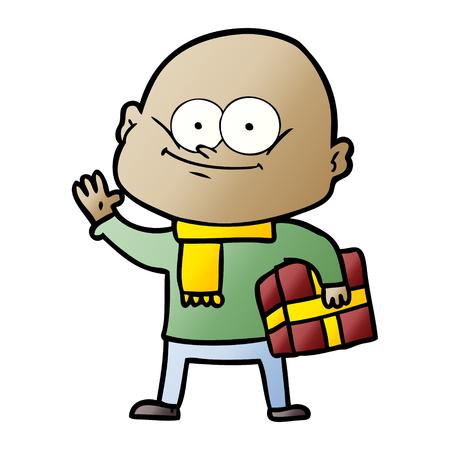 Hand drawn cartoon bald man staring
