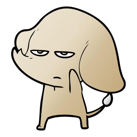 annoyed cartoon elephant 向量圖像