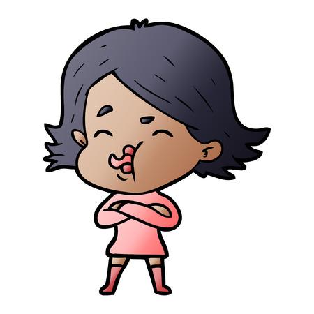 cartoon girl pulling face Illustration