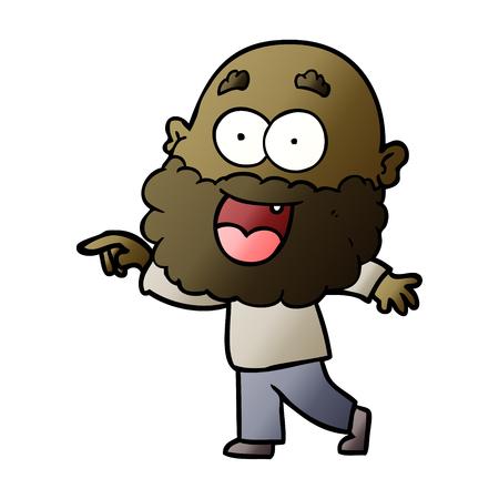 Cartoon crazy happy man with beard Illustration