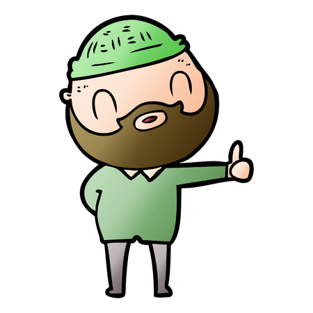 cartoon bearded man 일러스트