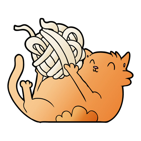 cartoon cat playing with ball of string Vectores