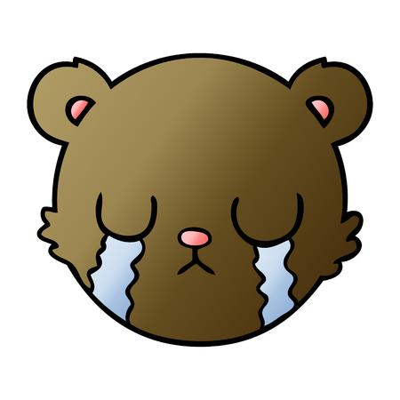 cute cartoon teddy bear face crying