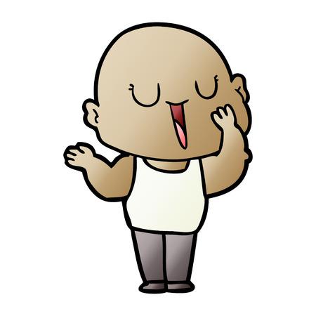 happy cartoon bald man yawning