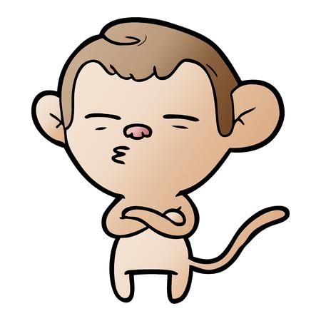 Hand drawn cartoon suspicious monkey
