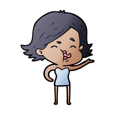 Hand drawn cartoon girl pulling face
