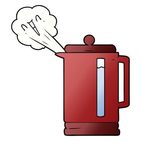 Hand drawn cartoon electric kettle boiling