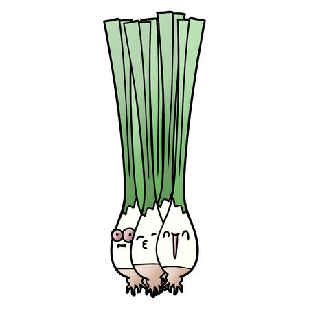 Spring onions with facial expressions  in cartoon illustration. Illustration