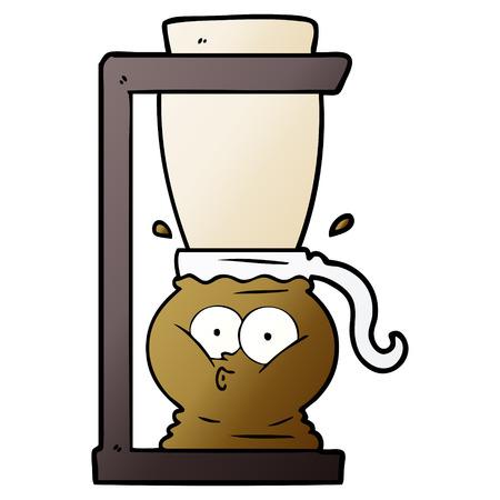 Hand drawn cartoon filter coffee machine Stock Illustratie