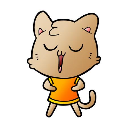Hand drawn cartoon cat singing 向量圖像