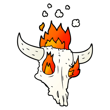 Spooky flaming animals skull  in cartoon illustration. Illustration