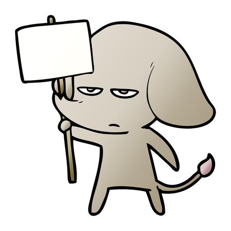 annoyed cartoon elephant Illusztráció