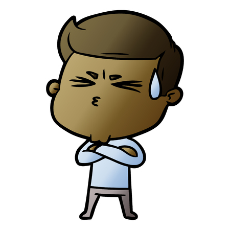 Cartoon man sweating illustration on white background. Archivio Fotografico - 95179780