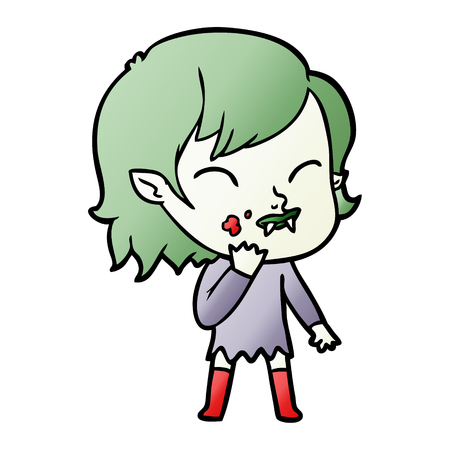 Cartoon vampire girl with blood on cheek illustration on white background. Ilustrace
