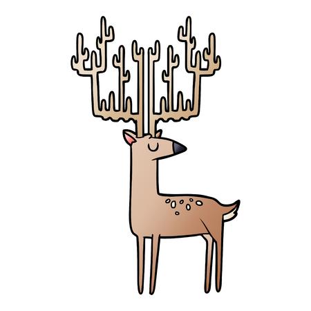 cartoon stag with huge antlers
