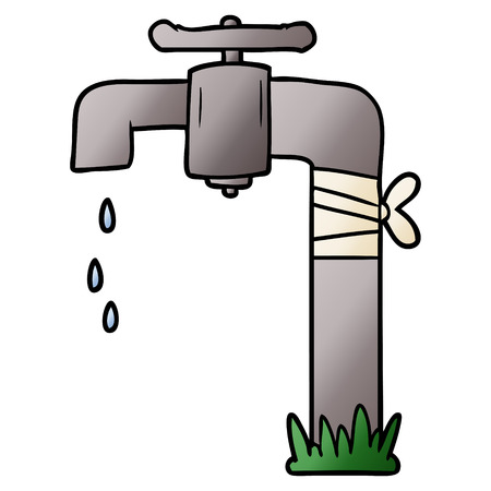 cartoon old water tap Vettoriali