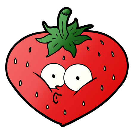 Cartoon strawberry illustration on white background. Иллюстрация