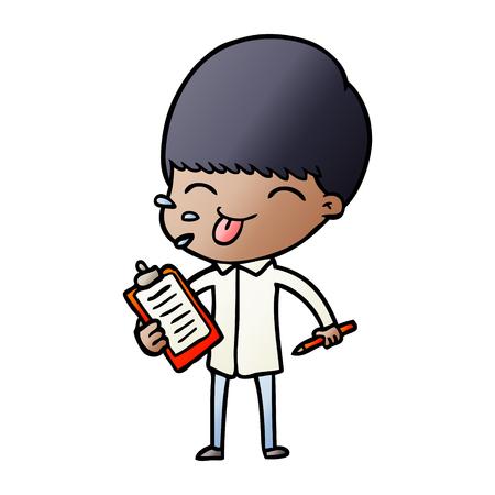 白い背景に舌のイラストを突き出した漫画のセールスマン。