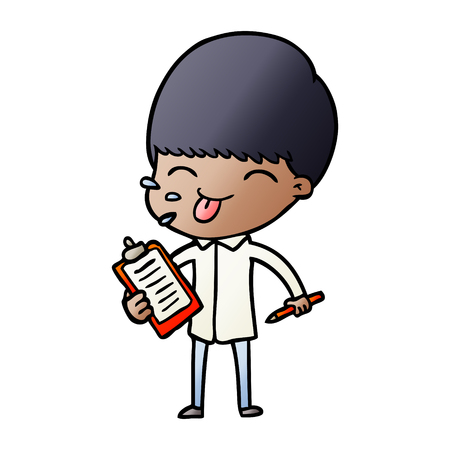 Cartoon salesman sticking out tongue illustration on white background.