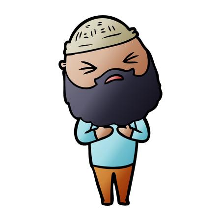 Hombre de dibujos animados con barba Ilustración de vector