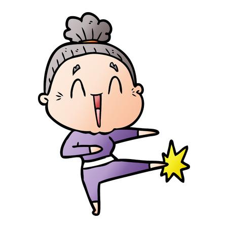 A cartoon happy old lady Stock fotó - 95159081