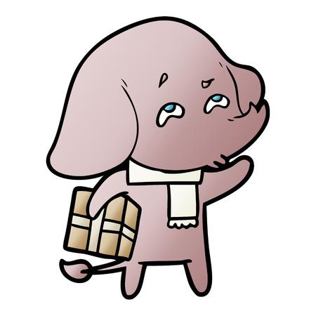 Cartoon elephant with gift remembering Çizim
