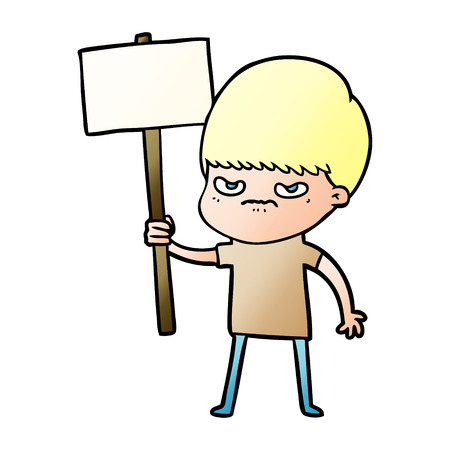 An angry cartoon boy protesting