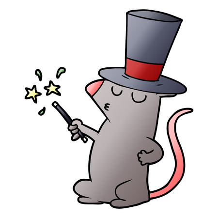 Cartoon mouse magician isolated on white background