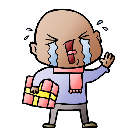 A cartoon crying bald man