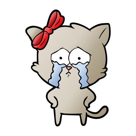 Cartoon crying cat