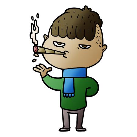 Cartoon man smoking Иллюстрация