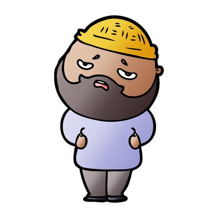 cartoon worried man with beard 向量圖像