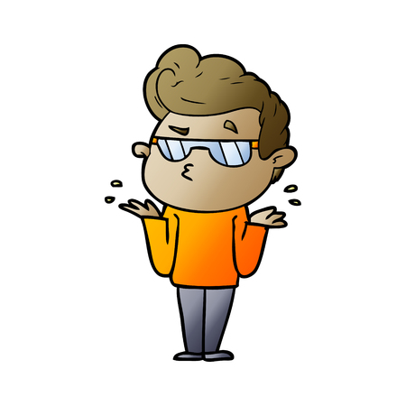 Cool man with orange shirt cartoon Illustration