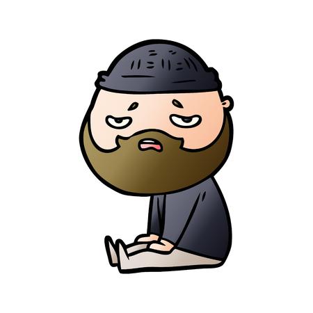 Worried man with beard cartoon