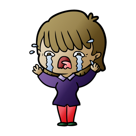 Hand drawn cartoon girl crying  イラスト・ベクター素材