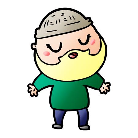 Hand gezeichneter Karikaturmann mit Bart Standard-Bild - 95203611