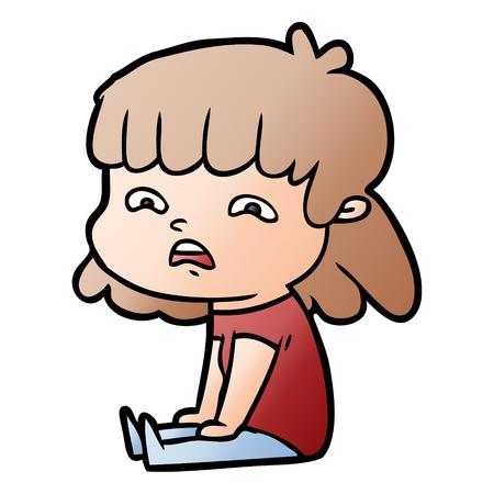 Hand drawn cartoon worried woman 向量圖像