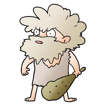 Hand drawn cartoon cave man Stock Illustratie