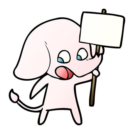 Cute cartoon elephant holding placard