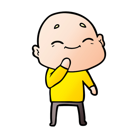 Hand drawn happy cartoon bald man