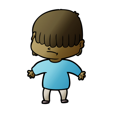 Boy with hair covering eyes cartoon