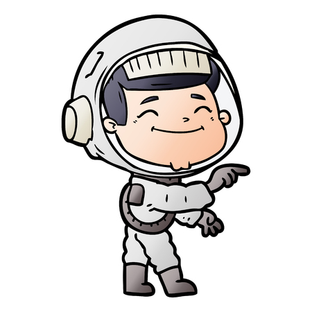 Delighted space man cartoon