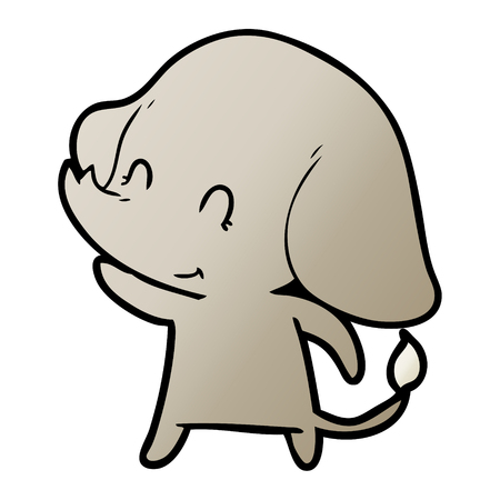 Cute and contented elephant cartoon