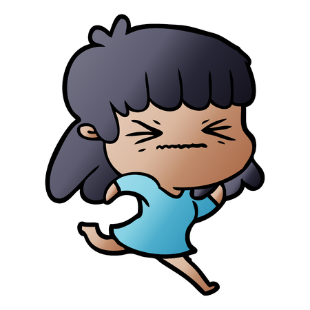 cartoon angry girl Stock Vector - 95165201