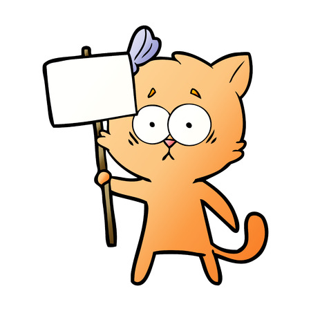 cartoon cat with white placard