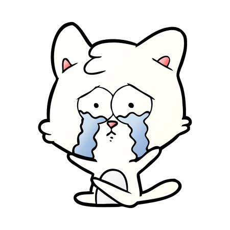 cartoon crying white cat 向量圖像