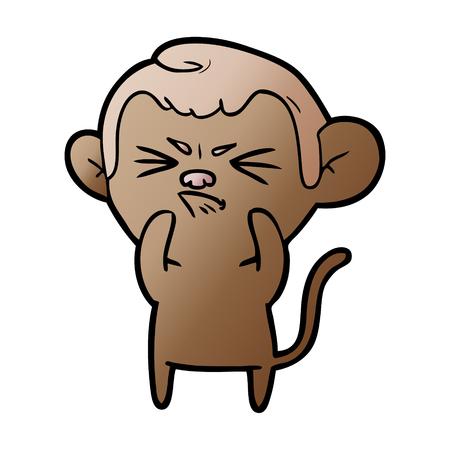 cartoon annoyed monkey Çizim