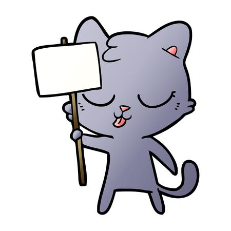 cartoon cat with placard
