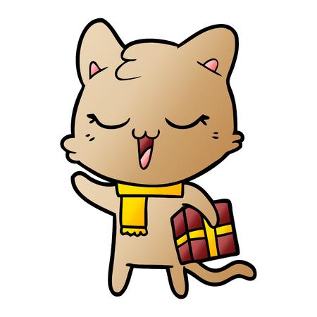黄色のスカーフで漫画の猫  イラスト・ベクター素材