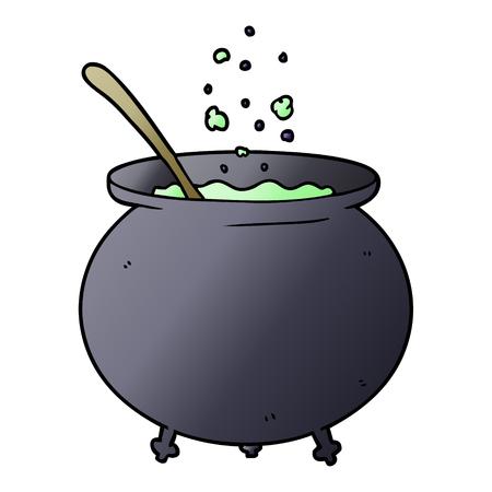 cartoon witch cauldron Vettoriali